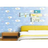 White Cartoon Kids Bedroom Wallpaper Light Blue Embossed Vinyl Wallpaper Manufactures