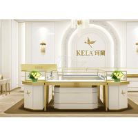 Rectangle Jewelry Showroom Display Cabinets Gold Stainless Steel Wood Material Manufactures