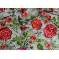 Bridal 3D Floral Embroidered Mesh Fabric , Red Flower Bridal Embroidered Net Fabric Manufactures