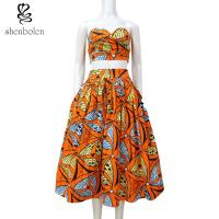 Crop Top African Print Two Piece Dresses Suits Set Multi Color Customized Size Manufactures