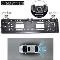 European Car License Plate frame IR LED night vision camera and car Parking Sensors radar with waterproof connector Manufactures