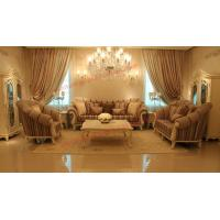 Quality High End Romantic Sofa set made by Solid Wooden Frame with Leather and Fabric for sale