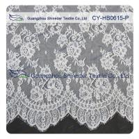 Chantilly Lace Fabric Eyelash Lace Trim For Womens Dress , White And Gray Manufactures
