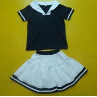 Navy And White Boy And Girl Matching Outfits With Polo Shirt Skirt Pant Customized Size Manufactures