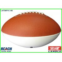 Custom White / Brown Rubber Rugby Ball Machine Stitch for Entertainment Manufactures