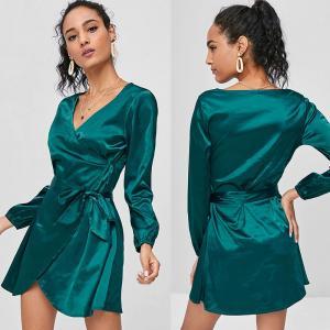 China 2018 Fashion Fall Clothing Women Satin Wrap Dress Long Sleeve Mini on sale