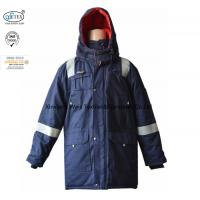 China Anti Static Hooded Fire Resistant Winter Coat With Reflective Tape 250gsm on sale