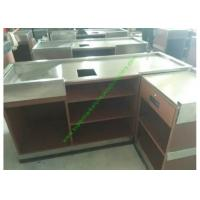 Coffee Bar And Supermarket Checkout Counter Table / Metal Cash Wrap Counter Manufactures