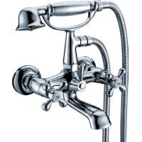 Double Handle Wall Mounted Bath Mixer Taps With Shower , Ceramic Cartridge Faucet Manufactures