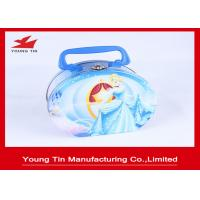 Round Full Color Printed Cookie Gift Tins Empty Lunch Tin Box With Plastic Handle Manufactures