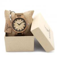 Quality Real Leather Band Zebra Wood Bamboo Watch with Packing Box Wooden Watch for sale