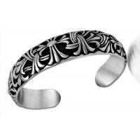 China Retro Jewelry Stainless Steel Bangle Bracelets Carved Cruciferous Jewelry Pattern Never Fade on sale