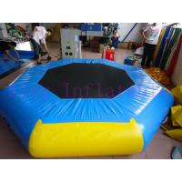 Yellow / Blue 3m Diameter Inflatable Water Park Trampoline PVC Toy For Water Park Manufactures