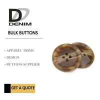 Brown 4 Holes Plastic Buttons For Suits & Coats Horn Effect Finish Manufactures