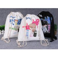 Promotional Travel Storage Custom Canvas Bags , Drawstring Backpack Bag Manufactures
