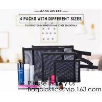 Zipper Mesh Bags, Pack of 4 (S/M/L & Pencil Pouch), Beauty Makeup Cosmetic