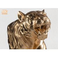 Large Gold Leafed Polyresin Animal Figurines Tiger Sculpture Table Statue Manufactures