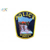 Twill Background Embroidered Fabric Patches , Custom Police Badge Patch Manufactures