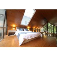Log Cabin Modular Homes / Prefab Glass House With Smart Color Lcd Panel Manufactures