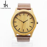 Fashion Quartz Wooden Wrist Watch With Leather Strap For Sports Use Manufactures