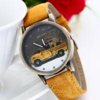 Fashion Yellow Car Sport Men Leather Strap Watches , Casual Quartz Wrist Watches Manufactures