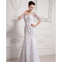 Girls Long Sleeve Big V Neck Wedding Dresses Appliques with cathedral train Manufactures