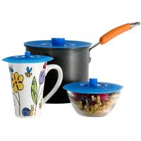 Multi-Function Blue Silicone Cup Cover , Silicone Mug Lid Round Shape Manufactures