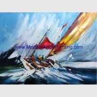 China Sailing Boats Oil Painting, Hand Painted Seascape Oil Painting For Wall Decor on sale