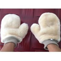 Lambswool Cleaning Mitt For Car Washing , Short Hair Sheepskin Wash Mitt  Manufactures