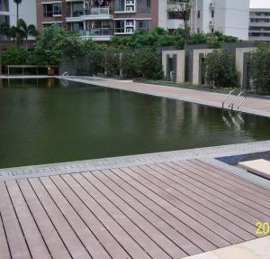 Solid High Strength Wood Plastic Composite Deck Floor / Outdoor Timber Decking Tiles Manufactures