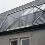 Commercial aluminum channel base balustrade glass railing