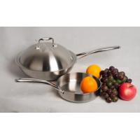 China wok and frying pan,3Pcs Stainless steel tri-ply cookware SHONLI-F-02,Thickness 2.5mm on sale