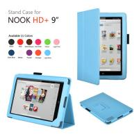 Modern Blue Flip Folio Nook Tablet Protective Case With Built In Light / Stand