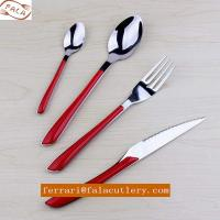 Frence Stainless Steel Cutlery Set With Red Plastic Handle Manufactures