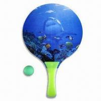 Beach Rackets and Ball Set, Made of Wooden and PVC Materials, Comes in Heat-transfer Printing Logo Manufactures