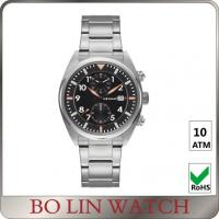 Brushed SS Case Chronograph Stainless Steel Watch Bracelet IPS Color Manufactures