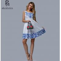 Short Length Womens Embroidered Floral Dress White Sleeveless Casual Dress Manufactures