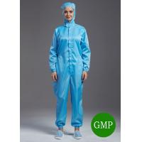 Reuseable ESD antistatic coverall connect with hoods blue color unisex suitable for class1000 cleanroom Manufactures