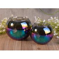 Ball Shaped Decor Glass Tealight Holders , Iridescence Lantern Glass Candle Jar Manufactures