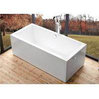 Deep Soaking Rectangle Acrylic Free Standing Bathtub With Overflow Space Saving Manufactures