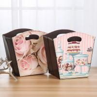 Cake Candy Holder Pattern Toy Gift Foldable Storage Basket Small PU Leather Waterproof Flowers Gift Basket with Handle Manufactures