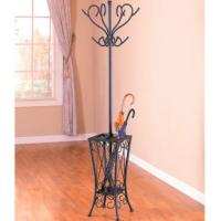 Antique Black Clothes Hanger Stand , Metal Tree Coat Rack With Umbrella Stand Manufactures