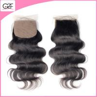 China 4''x 4'' Free Part/ One Parting/ 3 Parting  Lace Top Closure Body Wave Indian Silk Base Closure on sale