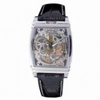 China Luxury Automatic Watch, Fashionable Design, Made of Stainless Steel Case and Band, See-through Back on sale
