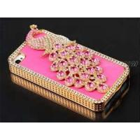 Pink iphone 4 /4s cases classical jeweled phone cases PU leather with diamond hard mobile phone cases Manufactures