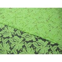 China Beautiful Floral Cotton Nylon Lace Fabric Green With Reactive Dyeing SYD-0013 on sale