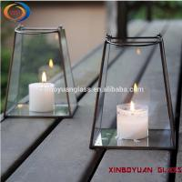 China geometric glass flower room surrounded transparent gold candle holder on sale
