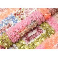 China Beautiful Square Colorful Sequin Fabric Sequin Mesh Embroidery Fabric Custom Made on sale