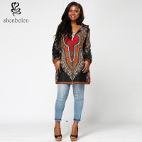 Dashiki Fabric Womens African Print Winter Jackets With Hoodie Long Sleeve Manufactures