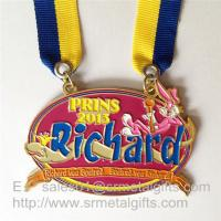 Enamel painted metal medals with double ended ribbon, enamel metal event medals,